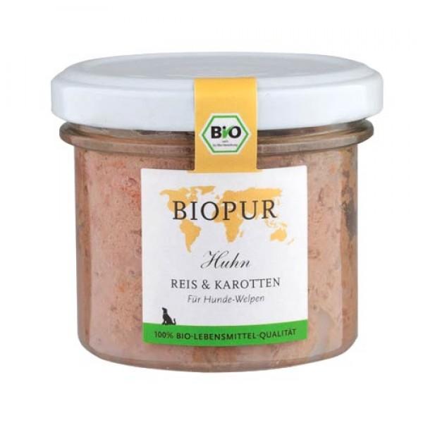 BioPur Huhn, Reis & Karotten für Hundewelpen, 100g