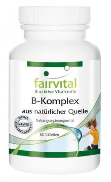 Vitamin B-Komplex aus natürlicher Quelle, vegan, 60 Tabletten